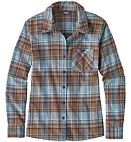 Patagonia Heywood Flannel - camicia a maniche lunghe trekking - donna, Light Blue/Brown