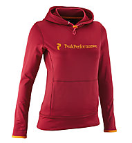 Peak Performance W Carr Hood - Felpa Con Cappuccio, Dark Red