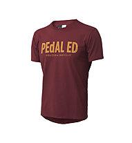 Pedal Ed Logo Tee Bikeshirt, Bordeaux/Mustard Print