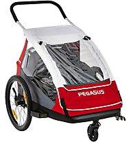 Pegasus Kinderanhänger Double - Fahrradanhänger, White/Red