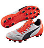 Puma evoPower 4.2 AG Jr., White/T. Eclipse/F. Coral