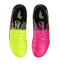 Puma evoPower 4.3 Tricks AG Jr - scarpe da calcio bambino, Pink/Yellow