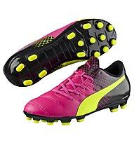 Puma EvoPower 4.3 Tricks AG Jr - Kinder-Fußballschuhe, Pink/Yellow