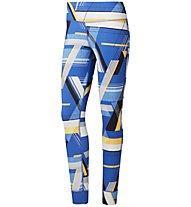Reebok Lux Bold Tight - Trainingshose - Damen, Light Blue/Yellow/White