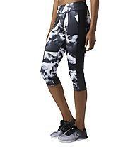 Reebok Workout Ready Smoke Print Capri - Fitnesshose 3/4 - Damen, White