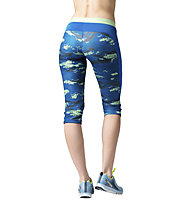 Reebok Workout Ready Camo Capri - pantalone 3/4 donna, Blue Sport/Seafoam Green