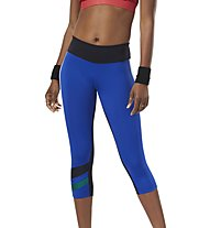 Reebok Workout Ready Colorblocked Capri - pantaloni 3/4 fitness - donna, Blue/White/Black