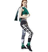 Reebok Workout Ready MYT Engineered - pantaloni fitness - donna, Black/Grey