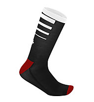 rh+ Feel 15 Merino-Radsocken, Black/Red/White