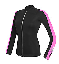 rh+ Spirit W Jersey LS langärmliges Damen-Radtrikot, Black/Deep Pink