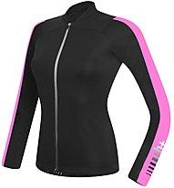 rh+ Spirit W Jersey LS langärmliges Damen-Radtrikot, Black/Pink