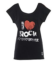 Rock Experience 2 Options Klettershirt Damen, Caviar/Fiery Red