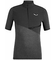 Salewa Agner Hyb Dry M Zip - T-Shirt mit Reißverschluss - Herren, Black/Dark Grey
