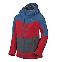 Salewa Antelao PTX/PF K - Giacca sportiva scialpinismo - bambino, Red/Blue/Grey