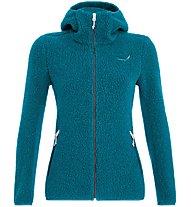Salewa Fanes Shearling Wool - giacca con cappuccio - donna, Light Blue/Grey