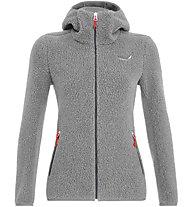 Salewa Fanes Shearling Wool - giacca con cappuccio - donna, Grey/Red
