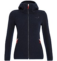 Salewa Fanes Shearling Wool - giacca con cappuccio - donna, Dark Blue/Red