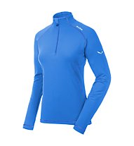 Salewa Ortles Cubic PL W L/S Tee Felpa in pile trekking donna, Royal Blue