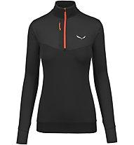 Salewa Ortles Dry/Wo - Langarm-Shirt mit Reißverschluss - Damen, Black/Red