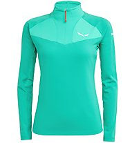 Salewa Ortles W L/S Zip - felpa in pile con zip - donna, Green