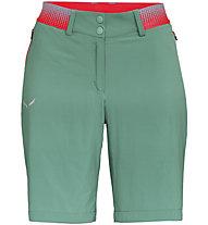 Salewa Pedroc Cargo 2 DST - pantaloni corti trekking - donna, Green/Red