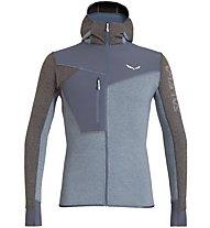 Salewa Puez 2 Dry M L/S Hood Full Zip - giacca in pile con cappuccio - uomo, Blue/Black