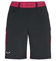 Salewa Puez 3 Dst - pantaloni corti trekking - donna, Black/Red