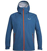 Salewa Puez (Aqua 3) - giacca a vento trekking - uomo, Blue/Orange