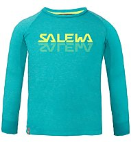 Salewa Puez Baselayer Dry K - maglia a maniche lunghe - bambino, Light Blue/Yellow