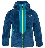 Salewa Puez Highloft Pl - giacca in pile con cappuccio - bambino, Blue/Yellow