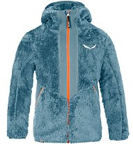 Salewa Puez Highloft Pl - giacca in pile con cappuccio - bambino, Light Blue/Orange