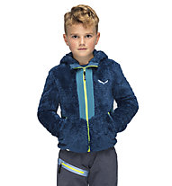 Salewa Puez Highloft Pl - giacca in pile con cappuccio - bambino, Blue/Yellow