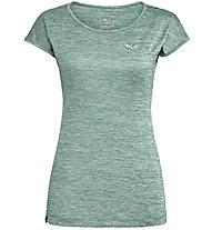 Salewa Puez Melange Dry - T-shirt trekking - donna, Dark Green/White