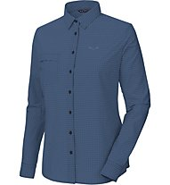 Salewa Puez Mini Check Dry W L/S SRT Damen Wanderbluse Langarm, Dark Blue