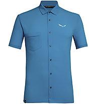 Salewa Puez Minicheck2 Dry M S/S - camicia a maniche corte trekking - uomo, Light Blue