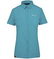 Salewa Puez Minicheck2 Dry - Bluse Kurzarm - Damen, Light Blue