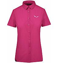 Salewa Puez Minicheck2 Dry - Bluse Kurzarm - Damen, Dark Pink