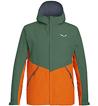 Salewa Puez PTX 2L - giacca hardshell trekking - uomo, Dark Green/Orange