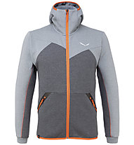 Salewa Solid Logo Dry - Fleecejacke mit Kapuze Trekking - Herren, Grey/Dark Grey/Orange