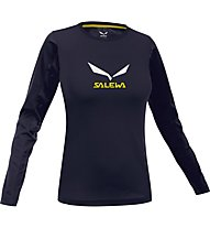 Salewa Solidlogo T-Shirt Langarm Damen, Night Black