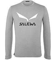 Salewa Solidlogo Dry - maglia a maniche lunghe - uomo, Light Grey/White