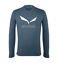 Salewa Solidlogo Dry - maglia a maniche lunghe - uomo, Blue