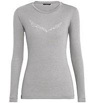 Salewa Solidlogo Dry - Longsleeve - Damen, Light Grey/White