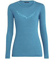 Salewa Solidlogo Dry - maglia a maniche lunghe - donna, Light Blue/Light Blue