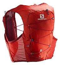 Salomon Active Skin 8 Set - Rucksack Trialrunning, Red