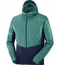 Salomon Agile FZ Hoodie Pacific - Trailrunningjacke - Herren, Green/Blue