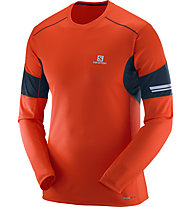 Salomon Agile LS Tee M Herren Langarm Laufshirt, Orange/Blue