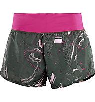Salomon Elevate 2in1 - pantaloni trail running - donna, Grey/Pink