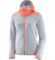 Salomon Elevate FZ Midlayer - Laufjacke mit Kapuze - Damen, White/Orange