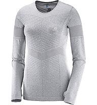 Salomon Elevate Seamless LS Tee W - langärmliges Runningshirt - Damen, Grey